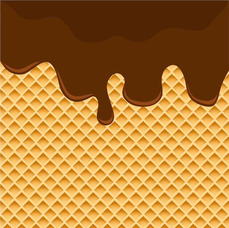 Dark Chocolate Melted on Wafer Background. Vector Illustration Illustration
