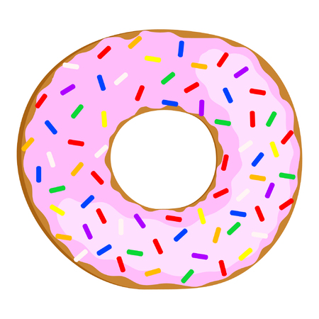 Tasty donut with pink cream. Vector Illustration