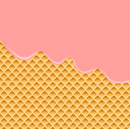 Strawberry Cream Melted on Wafer Background. Vector Illustration