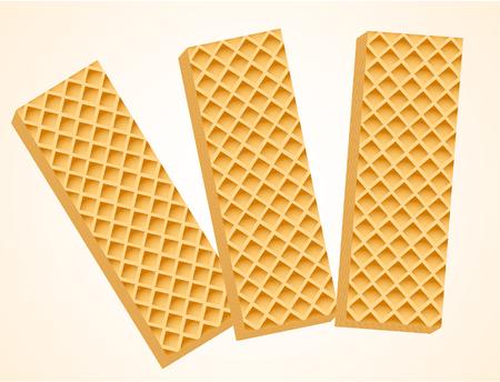 Three Vanilla Wafers. Vector Illustration Illustration