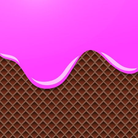 Cream Melted on Chocolate Wafer Background. Vector Illustration