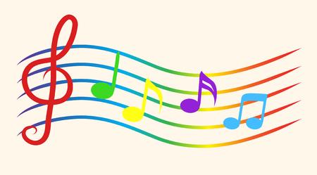 Kleurmuzieknotities over notenbalken. Vector illustratie Stock Illustratie
