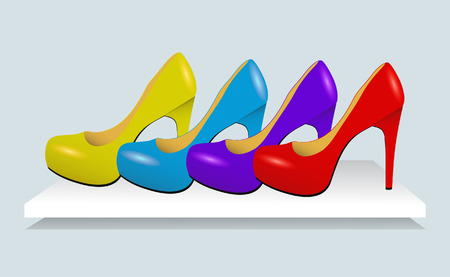 Colorful woman hight heel leather shoes. Vector Illustration