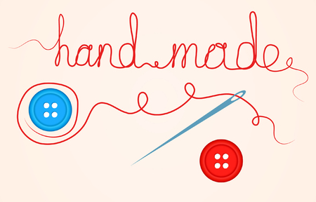 Accessories For Sewing Handmade Design Element Button, Needle and Thread. Vector Illustration