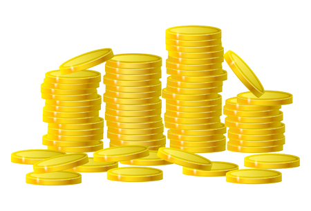 Gold coins cash money in column isolated on white. Vector Illustration, eps 10