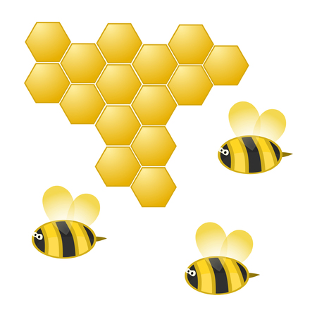Cartoon bee and honeycomb on white, vector illustration