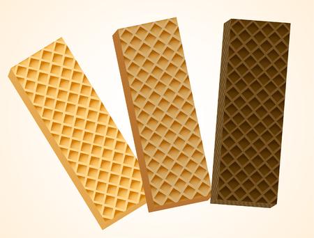Three Vanilla and Chocolate Wafers. Vector Illustration, eps 10
