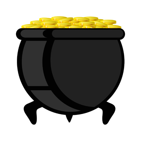cast iron: pot with gold coin for Patricks day, vector illustration isolated on white background, eps 10