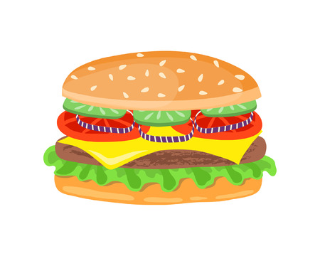 Drawing of hamburger with cheese, tomatoes, chop, lettuce, onion, cucumber in flat cartoon style. Illustration for design fast food menu. Vector