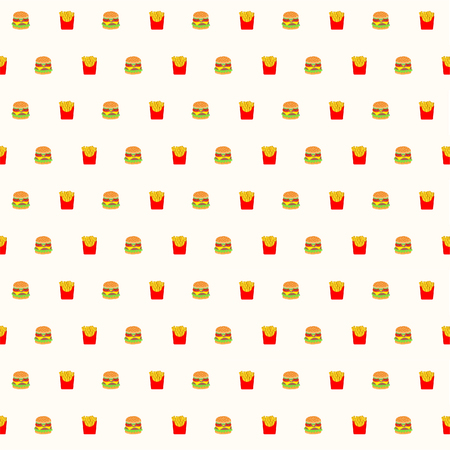 Seamless Fast Food Vector Pattern Background Illustration