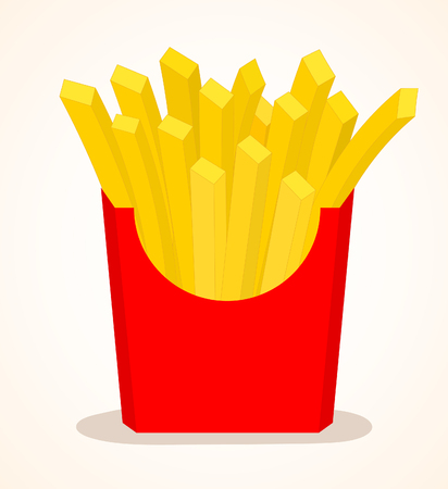 French Fries In Red Box. Vector Illustration