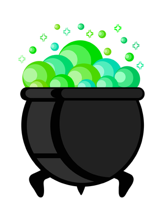 Witch pot of boiling green magic potion for Halloween, vector illustration, eps 10 Illustration