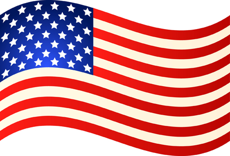 Wave American Flag for Independence Day. Vector EPS illustration