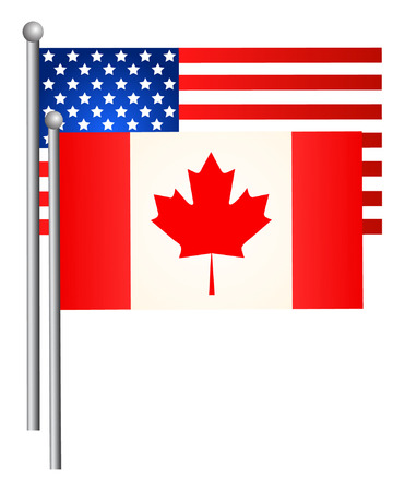 American and Canadian flags. Vector illustration. Illustration