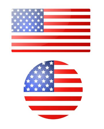 American Flag Banner and Button for Independence Day. Vector illustration. Illustration