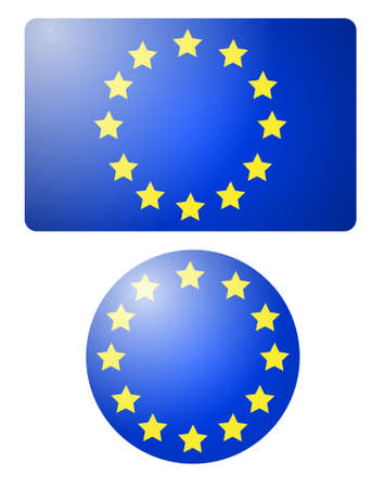 Flag of European Union Banner and Button. Vector Illustration