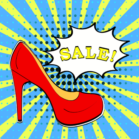 shoe store: Sale shoes banner in comic book pop art style with red high heel pump on yellow and blue sunburst background with halftone texture