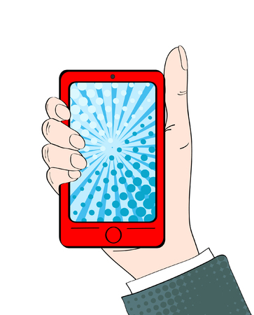 answering: Pop art background with male hand with thumb up holding a smartphone with dot screen for your offer . Vector colorful hand drawn illustration in retro comic style. Illustration