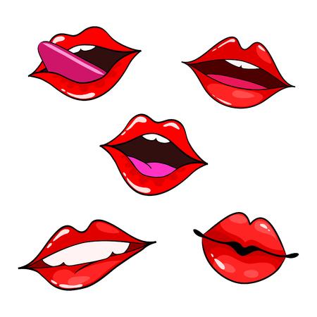 female lips set mouth with a kiss smile tongue teeth vector rh 123rf com Angry Cartoon Mouth Cartoon Mouth Clip Art
