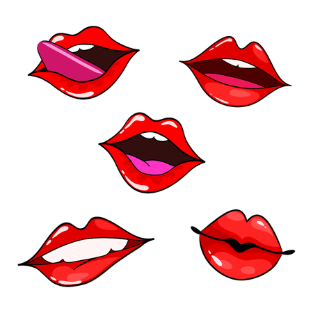 girl mouth open: Female lips set. Mouth with a kiss, smile, tongue, teeth. Vector comic illustration in pop art retro style isolated on white background.