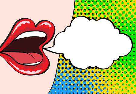 girl mouth open: Closeup of sexy open female mouth with pink lipstick screaming announcement and empty speech bubble. Vector bright background in comic retro pop art style. Illustration