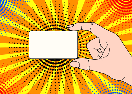 Male hand with holding a card on bright dot background in pop art comic style. Hand drawing vector illustration
