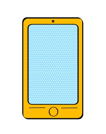Pop art yellow smart phone with dot screen for your offer on white background. Vector colorful hand drawn illustration in retro comic style. Illustration