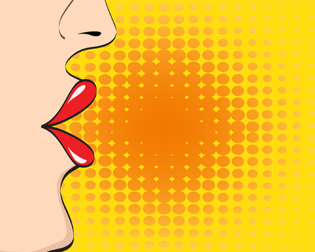 Beautiful woman face with open lips with space for text, pop art retro comic style, vector illustration eps 10 Illustration