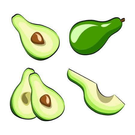 Avocado Vegetable Set on pop art retro comic style. Vector Illustration on white background eps 10 Illustration