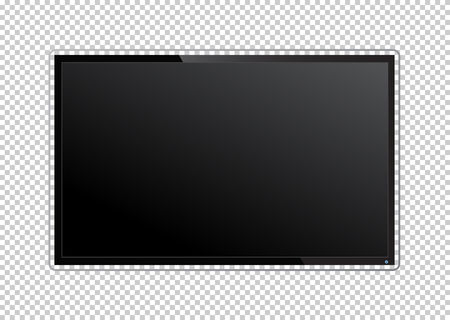 Realistic TV screen on transparent background. Modern stylish lcd panel, led type. Large computer monitor display mockup. Blank television template. Graphic design element for catalog, web site, as mock up. Vector illustration eps 10