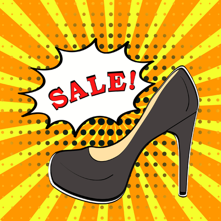 Sale banner in comic book pop art style with black high heel shoe on yellow and orange sunburst background with halftone texture