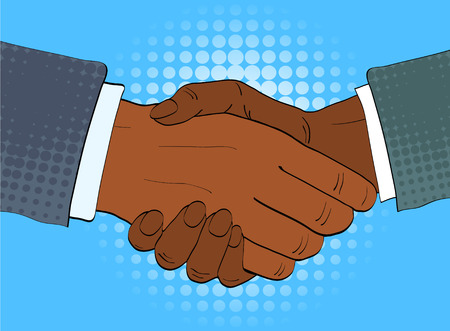 Two afro american businessmen shake hands vector illustration in retro pop art style. Partnership handshake concept poster in comic design