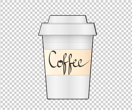 Paper Coffee Cup on transparent background. Collection Coffee Cup Mockup. Vector Illustration Template Illustration