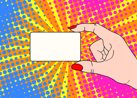 Female hand with holding a card on bright dot background in pop art comic style. Hand drawing vector illustration