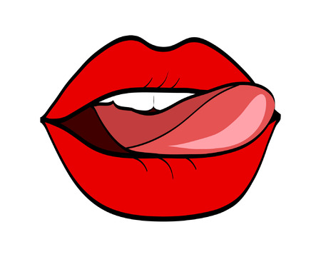 Red lips and tongue in pop art retro comic style, stock vector illustration.