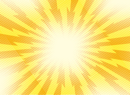 An illustration of yellow and orange pop art retro backdrop with rays of lightning comic style
