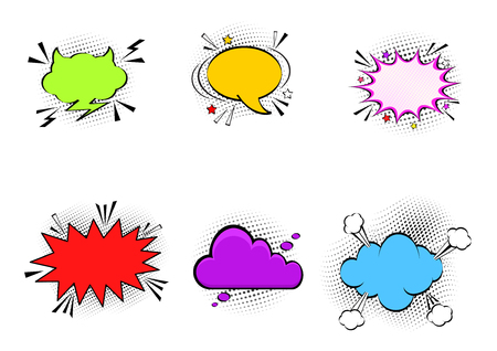 Comic empty speech bubbles on halftone dots background in retro pop art style. Vector set of dynamic cartoon funny dialog balloons sketch isolated on white background
