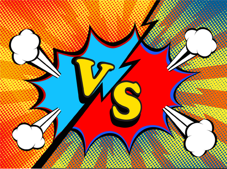 Versus. vs. Fight backgrounds pop art retro comic style design. Vector illustration.