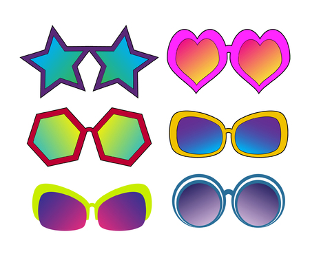 Set of different sun glasses in pop art retro comic style for your designs. Vector illustration