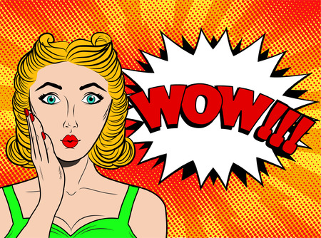Wow pop art female face. Sexy surprised young woman with blond hair and speech bubble. Vector bright background in pop art retro comic style. Party invitation poster
