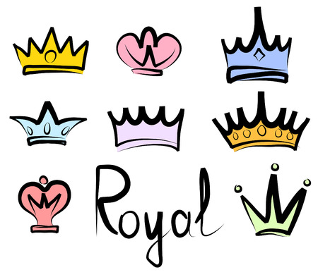Hand drawn crowns logo and icon collection Stock Illustratie