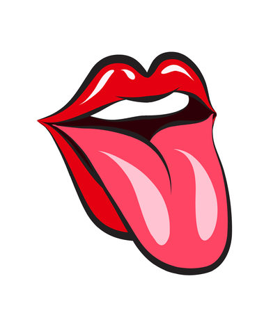Glossy red woman lips with tongue on white background. Vector illustration Vettoriali