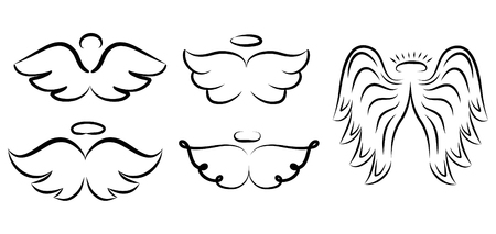 Angel Wings Drawing Vector Illustration Winged Angelic Tattoo