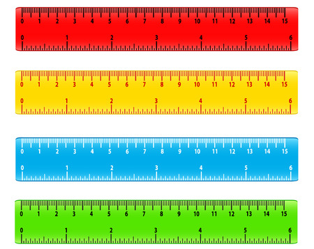 Color school measuring rulers in centimeters and inches vector set. Stationery color ruler tool illustration