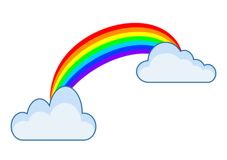 cute clouds and rainbow drawing vector illustration design Illustration