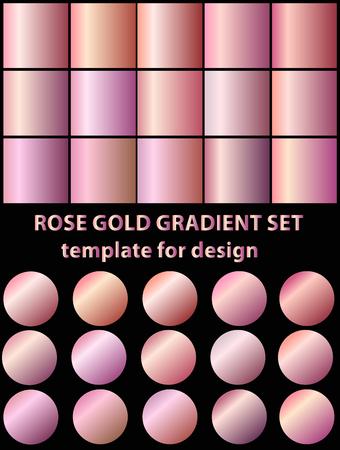 Set of rose gold gradients for fashion background, wallpaper. Vector illustration