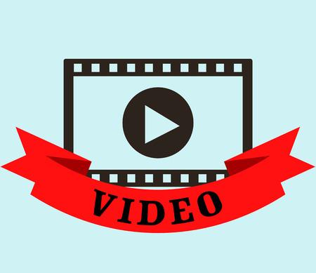 Diseño de cinta de video de medios de Internet sobre fondo gris, ilustración vectorial