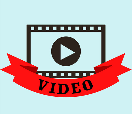 Internet media video tape design over gray background, vector illustration Иллюстрация