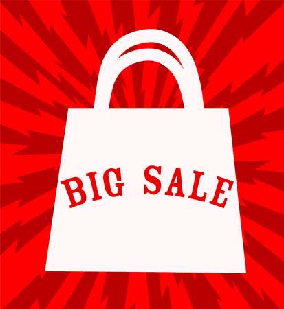 Big sale announcement with shopping bag over red background. vector illustration