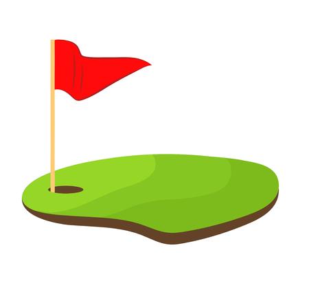 Golf hole with red flag stock vector illustration design Illustration